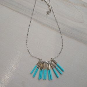 Blue Enamel silver necklace
